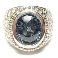 Color Change Sapphire and Diamond Ring Size 6