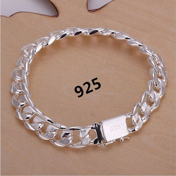 925 Sterling Silver Bracelets Fashion Jewelry Gifts Men's 10MM Square Buckle Sideways Bracelets (Color: Silver) [8833397708]