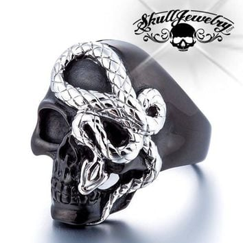Black 'Here I Go Again' Stainless Steel Skull Ring (075Black)