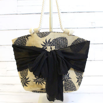Tropical Sarong Along Tote {Pineapple}