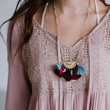 Layla Beaded Tassel Necklace - Gold Multi