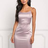Mauve Open Back Silky Bodycon Dress