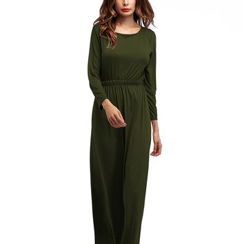 Green Long Sleeve O Neck Maxi Dress