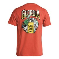 Georgia Peach License Plate Tee Shirt in Salmon by Live Oak