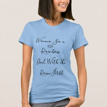 Blue cute round neck T-shirt for girls
