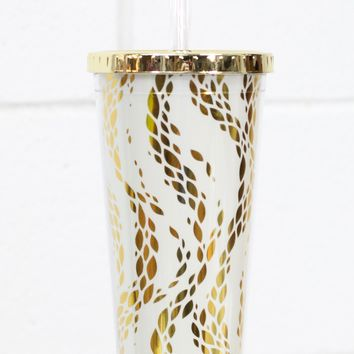 Metallic Movement Print 24 oz Tumbler w/ Gold Lid {Gold}