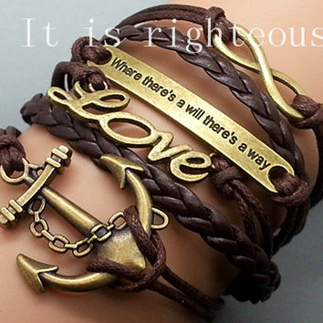 Anchor -Love-Infinity-Motto Bracelet Brown wax cord Brown Braided Leather Antique Bronze Cute Personalized Jewelry friendship gift Wholesale
