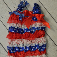 4th of July Petti Romper Outfit-Patriotic Birthday Outfit-Girls July 4th Birthday Outfit Sz 12-24mo-4th of July Parade Attire