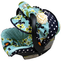 Midnight Garden & Dots Custom Infant Car Seat Cover