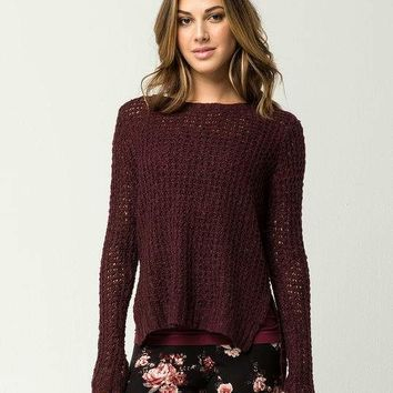 SAY WHAT? Open Weave Womens Sweater