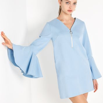 Denim Stretch Bell Sleeve Zip Dress by New Revival