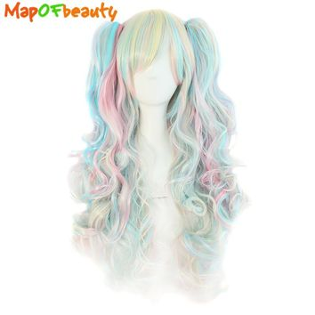 MapofBeauty long wavy cosplay wig 65cm purple pink ombre 11 colors two ponytails Synthetic hair Heat Resistant wigs for women