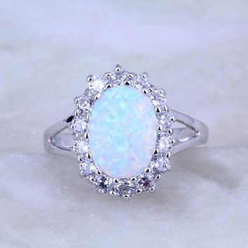 New Design Rare White Fire Opal and Cubic Zirconia Ring