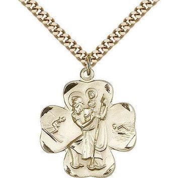 "Saint Christopher Medal For Men - Gold Filled Necklace On 24"" Chain - 30 Day ... 617759890891"