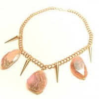 Thorn Brush Pink Agate Statement Necklace