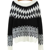 Black Geometric Patterned Knitted Sweater