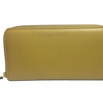 Gucci Women's Mustard Yellow Leather Zip Around Wallet 363423