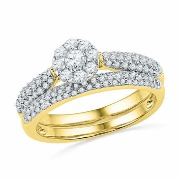 10kt Yellow Gold Women's Round Diamond Cluster Bridal Wedding Engagement Ring Band Set 5-8 Cttw - FREE Shipping (US/CAN)