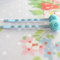 Tiny Chrysanthemum Bobby Pins Urban Blues by theblackstarboutique