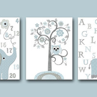 Blue and gray Elephant Nursery Giraffe Nursery Art Baby Room Decor Baby Nursery Decor Baby Boy Nursery Kids Wall Art Kids Art set of 3 8x10