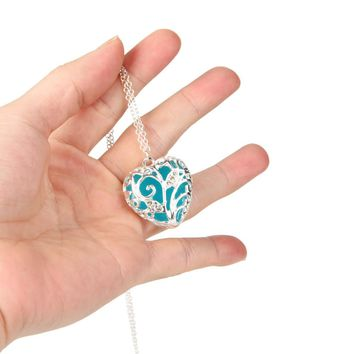 Peach mosaic Luminous necklace Magical Aqua Blue Heart Glow In The Dark Pendant Necklace Gift #6-7