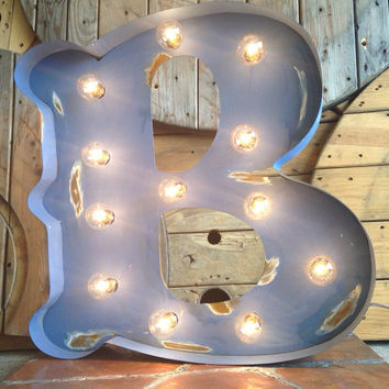 "Carnival Painted Antiqued Lighted Marquee Letters 12"" tall"