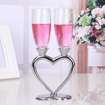 New Heart Silver Plated Crystal Wedding Toasting Flute