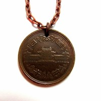 Japanese Coin Necklace Pendant, 10 Yen, Japan, Copper Asian Jewelry by Hendywood