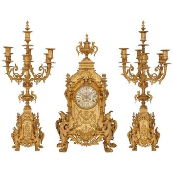 Antique French Large Three-Piece Gilt Bronze Clock Set by Henri Jondet