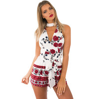 Summer style beach red floral print elegant jumpsuit romper High waist halter bow short playsuit Women v neck boho sexy overalls