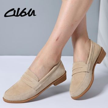 O16U Women Ballet flats shoes Suede Leather Slip on Ladies cute casual Shoes olorful Female Classic Loafers Footwear Spring