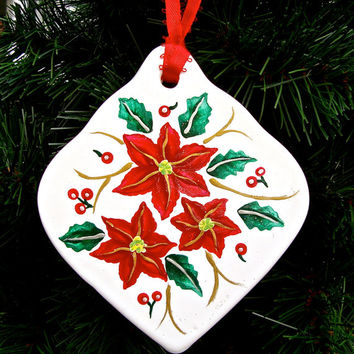 Hand Painted Christmas Ornament With Poinsettias