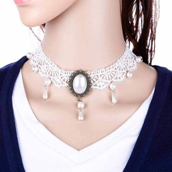 ONETOW White Lace Choker Necklace Women Chocker tattoo choker Vintage Collier Femme Statement Necklaces Pendants Collares Mujer