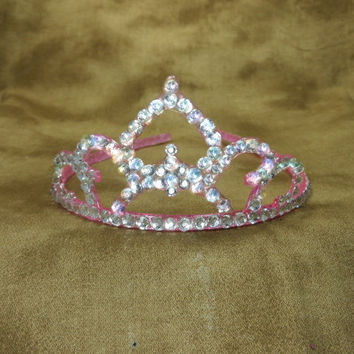 Crown - Tiara - Pink - Princess - Pink Wedding - Rhinestone - Crystal Headband - Bride Hair Piece - Weddings - Bridal - Bachelorette
