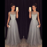 Vestido de Festa Long Prom Dress 2016 Gray Aline Evening Gowns Tulle Beaded Wedding Party Dress Robe de soiree Abendkleider