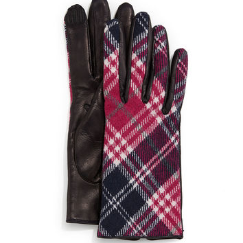 Plaid Cashmere-Back Leather Gloves, Size: