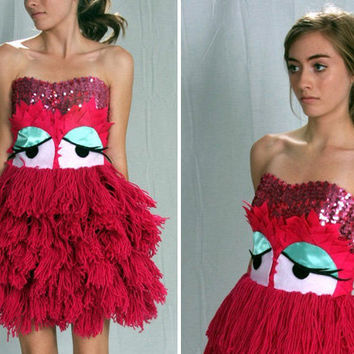 Pink Mop Monster Dress- etsy