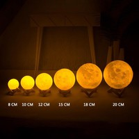 3D Printed Colorful LED Full Moon Night Light Touch Switch Desk Lunar Lamp Glow in the Dark Moon Light Kids Toy Party Home Decor