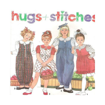 Uncut  Pattern Girl's Blouse Jumper Jumpsuit Size 2 3 4 Hugs + Stitches Simplicity 8017 Back to School