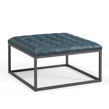 Healy Teal Leather Tufted Ottoman | Overstock.com Shopping - The Best Deals on Ottomans