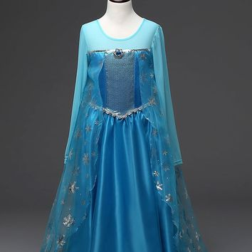 Fashion princess little girls party dresses kids lonf sleeve sequined elsa costume toddler girls