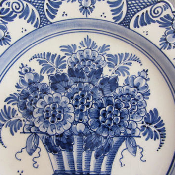 SALE** Vintage Blue and White Delft Floral Plate ~ Porcelain Wall Hanging Collectors Floral Plate ~ Handpainted Plate made in Holland ~