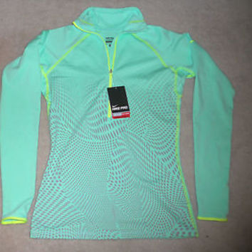 Nike Pro Women's Hyperwarm Half Zip Long Sleeve Shirt Jacket Dri-FIT Volt NWT
