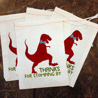 Dinosaur Birthday Party Favor Bags - White Muslin 5x7 / Thanks for Stomping By / Kids Candy Bag / Toddler Dino Party / Thank You Gift Supply