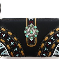 Montana West Western Montana West Western Aztec Collection Turquoise Stoned Concho Wallet:Amazon:Shoes