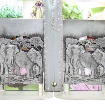Metzke Elephant Wildlife Bookends Set of 2 Pewter Pressed Steel 1974