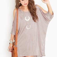 Open Shoulder Dress - Champagne in What's New at Nasty Gal