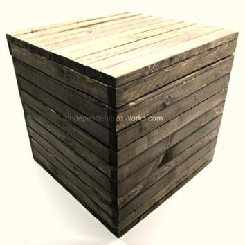15 Inch Rustic Wooden Cube Box with Lid - Dark Walnut Stained Large Wood Storage Box - Handmade Big Square Wooden Crate Style Box