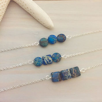 Blue Stone Necklace - Sea Jasper Necklace - Ocean Jasper Necklace - Blue Stone Bar Necklace - Boho Bar Necklace - Gift for Her