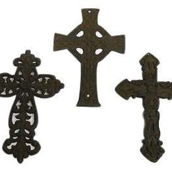 3 Cast Iron Cross Set rustic country home church decor Christian primitive new